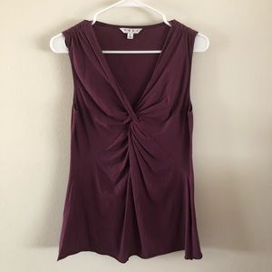 CABI | Plum Violet Knotted Twist Tee Tank Top